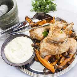 Kyckling med rostade sötpotatis